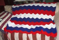 Red, White and Blue Ripple Afghan - Get Patriotic this 4th of July with this awesome ripple afghan. Bring it along to watch the parade and fireworks.