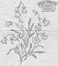 embroidery patterns, embroideri pattern, harebel, sweet pattern, redwork, risco, heather, flower