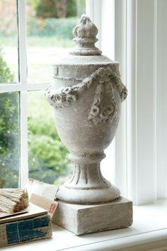 sculpture garden, garland finial, soft surround, yard art, gardens, garlands, garden sculptures, cement, decor idea