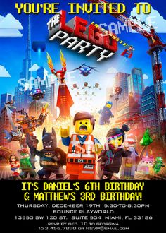 Lego Movie Birthday Party Invitation -  DIY Digital, Printable Party INVITATION - 4x6 or 5x7 - Lego City on Etsy, $12.00