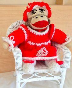 Vintage Handmade Valentine's Day Sock Monkey Doll Crochet Wicker Chair | eBay
