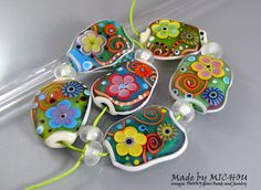 Smiling Happy Flowers Art Glass Set by Michou P. by michoudesign
