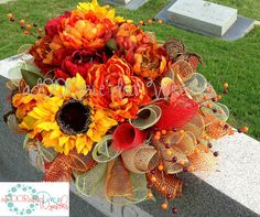 Autumn Headstone Saddle by aDOORableDecoWreaths on Etsy