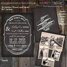 25 Printed Wedding Invitation Cards - Chalkboard Wedding Invitation Card No6 - Chic Elegant wedding
