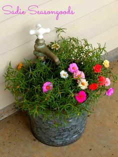 Cheery Porch Décor: Salvaged Faucet Planter