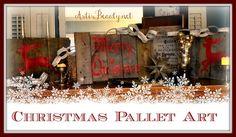 ART IS BEAUTY: Christmas Pallet Art  http://arttisbeauty.blogspot.com/2012/11/christmas-pallet-art.html