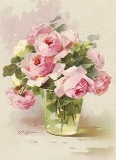 pink roses in a glass vase