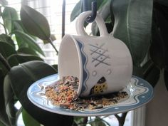 "Tea Cup Bird Feeder - Upcycled from Studio Nova ""Seafest"" China. $10.00, via Etsy."