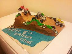 Dirt bike cake for a boy 6th birthday.