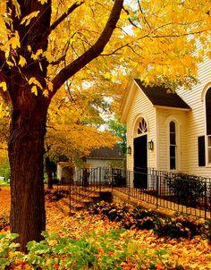 Beautiful Fall... fall leaves, yellow houses, beauti, place, autumn leav, autumn splendor, favorit season, old churches, country churches