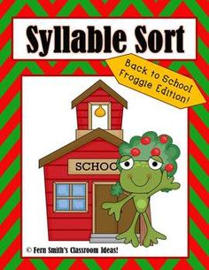 Back to School Frogs Syllable Sort Center Game for Common Core #TPT $Paid