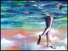 Surreal Art - Cloud Walking - Abstract Ocean Art Print - Mixed Media Art with Digital Collage