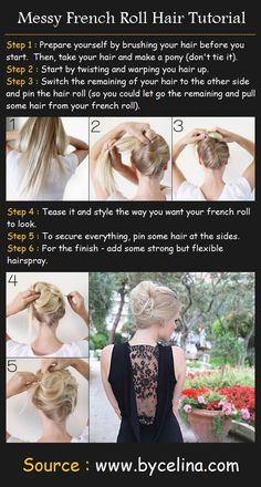 Messy French Roll Hairstyle | Beauty Tutorials