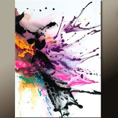 Abstract Art Painting - Contemporary Modern Original Canvas Art Painting by Destiny Womack - dWo - Scattered Thoughts