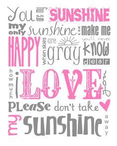 You Are My Sunshine Subway Art Digital PRINTABLE 8x10 JPEG File Multiple Colors Available. $8.00, via Etsy.