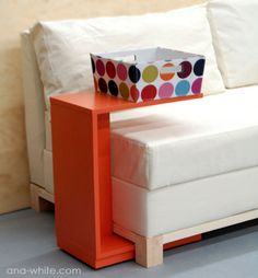 I have been searching for couch tables like this, but it's generally more than I want to spend. This is a pretty good tutorial for making your own