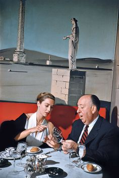 Elliott Erwitt: Alfred Hitchcock and Vera Miles. New York City, 1957.