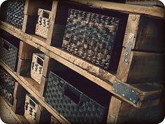 Stacked pallet TV stand with basket storage, by Too Much Time on my Hands, featured on Funky Junk Interiors