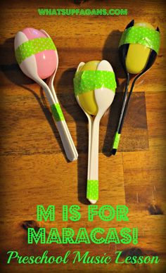 M is for Music Preschool Lesson Plan - Make homemade maracas made from spoons, tape, egg, and rice! Plus more awesome letter M activities   whatsupfagans.com