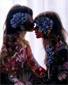 Classic Vogue Italia double exposure by photographer Steven Meisel