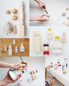 How to make your own modern wooden dolls from blocks and wooden furniture legs