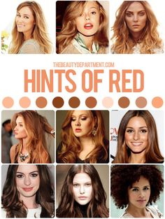 HAIR COLOR GUIDE: HINTS OF RED! It's fall, y'all. Who's going warmer? Here are a few things you should know if you want a hint of red...