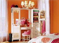 Chic Orange Teen Bedroom Wall Color with Pink and White Decoration