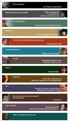 The first  last lines of each Doctor.