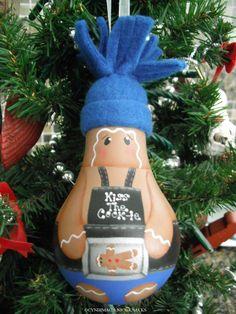 Gingerbread Baker Lightbulb Ornament by CyndiMacsNickKnacks