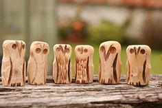 Cornish Hand Carved Wood Owls