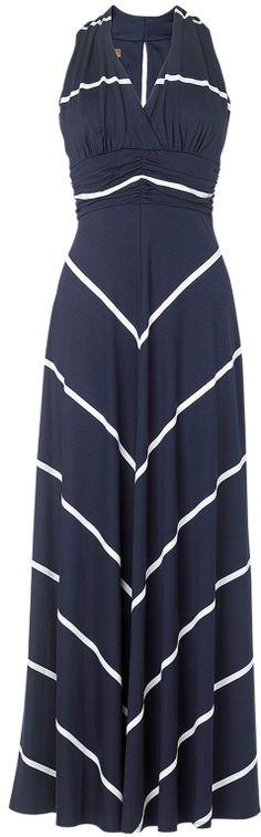 Phase Eight Stripe Maxi Dress, Navy/Ivory