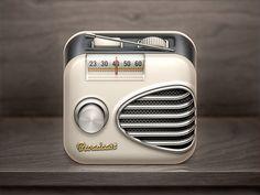 Broadcast iOS Icon #photoshop #radio #retro