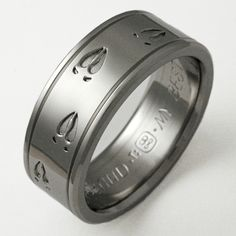 hunting wedding rings | Titanium ring with deer tracks and two grooves. Ring shown 8mm, size 9 ...