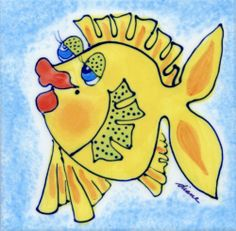 Decorative Whimsical Ceramic Tile Wall Art Hot Pad Trivet By Diane Artware - 6 X 6 Inch - Yellow Tang Fish by Artworks Home Accents. $10.00. Many uses: mounted wall art, incorporate into backsplashes, hot pads, trivets. Each tile measures 6x6 inches and has a hardboard backer for hanging or grouting.. Diane creates light hearted and humorous unique, hand painted. The artist is based in the Virgin Islands and her work is some of the most highly collected Caribbean art toda...
