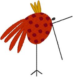 Primitive Folk Art Bird #1 from windstar machine embroidery designs