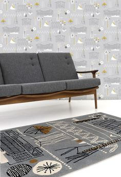 mid-century style sofa and very cool rug