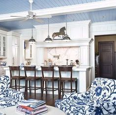 Blue painted ceiling with beadboard