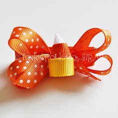 Candy Corn Clippie Layered Bow