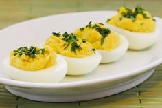 Tarragon-Mustard Deviled Eggs Recipe from Kalyn's Kitchen  #SouthBeachDietRecipes #LowGlycemicRecipes