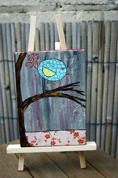 Original Art Bird in a Tree mixed media by gaylezoe on Etsy, £10.00
