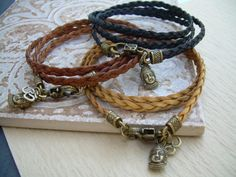 Flat Braided Leather Bracelet with charms  by UrbanSurvivalGearUSA, $23.99