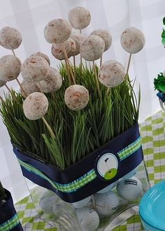Golf Party Theme- powdered donut holes on sticks... easier than cake pops! birthday parties, donut holes, father day, theme parties, cake pops, golf party, party cakes, golf theme, themed parties
