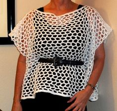 Delicate Open Weave Top - The crochet instructions for this Delicate Open Weave Top are easy to follow. Make yourself a fabulous top to wear any time of year; wear a tank during the summer or a long sleeved shirt during the winter. Complete the top with a fancy belt.  http://www.allfreecrochet.com/Tops/