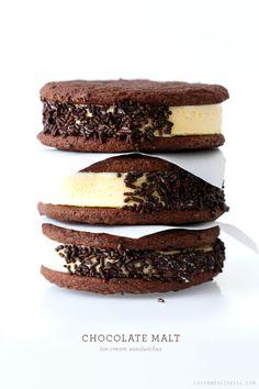 Chocolate Malt Ice Cream Sandwiches #food #foodporn #yum #yummy #tasty #recipe #recipes #like #love #cooking #dessert #desserts #cake #cakes #sweet #sweets