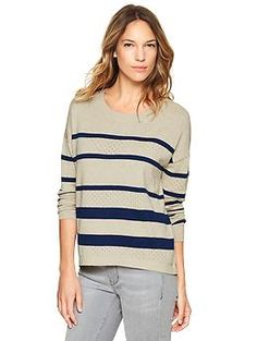 Pointelle stripe sweater from Gap