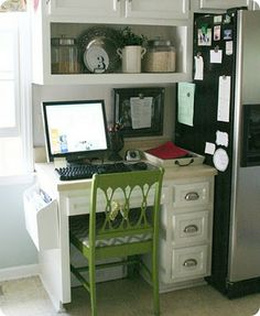 Things your command center might include:    to-do lists  a home management binder  phone numbers  your kid's soccer schedule  a place for your laptop  a meal plan  the grocery list  chore charts  in/out boxes  a bulletin board   your favorite pen  some pretty accessories