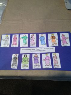 """While learning about the 12 disciples with preschoolers,  I used this link and wrote the name of each disciple under a picture.  Each child was given a ziploc bag with the 12 disciples already cut out.  All they had to do was color the disciple, glue them on, and glue on the quote. """"12 men followed Jesus.  Jesus picked them one by one.  They were called Disciples.""""  http://www.biblekids.eu/new_testament/twelve_apostles/twelve_apostles_coloring/Twelve%20Apostles_3.jpg"""