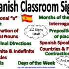 117 Spanish Class Signs - Surround your students with these colorful, informative Spanish classroom signs!