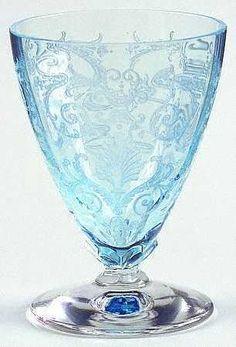 Fostoria Blue Versailles Whiskey Glass.  I want.