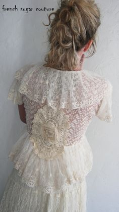 French Sugar Parisian Up-cycled Vintage Style Lace on Lace Wedding Bolero - Altered Couture